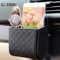 Atacado-Godersi PU Leather Car Telefone Celular Holder Bag Auto Saída Air Vent Case Lixo Pouch Organizer Suspensão Car Supplies CR0073