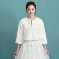 Wholesale Winter Bridal Coats Jackets - Long Sleeves Faux Fur Bridal Jacket Waist Length Cream White Winter Champagne Warm Wedding Coat Fashion Bridal Bolero In Stock