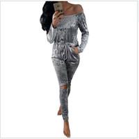 ingrosso caldo bodysuit-Wholesale- Velluto caldo Pagliaccetti Womens Jumpsuit 2017 nuovo inverno Sexy Off spalla manica lunga Pant Hollow Bodycon Tuta benda Tute