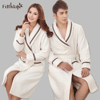Wholesale Pajamas For Couples - Wholesale- Plus Size Fashion Winter Women And Men's Bathrobes Flannel Long Dresses Gowns Winter Bathrobe For Couples Pajamas Robes 2XL E472