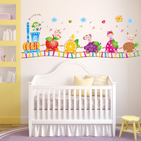 50 * 70cm Bricolage Autocollant Autocollant Imprimable Autocollant Mural pour Enfants Chambre Chambre Salon XL7101 Cartoon Fruit Train Animaux Autocollants muraux