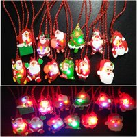 Wholesale Wholesale Light Up Christmas Necklace - Glow up Flashing LED Necklace for Christmas Kids Toy Red Chain LED Light Cartoon Santa Claus Pendant Necklace Party Favors Xmas Decorations
