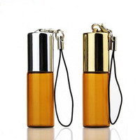Wholesale Perfume Empty Sample Vials - Amber Empty Glass Pendant Sample Perfume Bottle with Steel Roller Ball&Glass Vials Small Promotion Oil Bottle F20171121