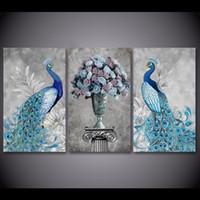 ingrosso pavone di pittura di tela di arte della parete-3 Pz / set Incorniciato HD Stampato Peacock Coppia Animale Immagine Wall Art Print Decor Tela Pittura A Olio Moderna Cuadros Decoracion