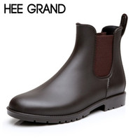 Wholesale high platform creepers shoes - Wholesale- HEE GRAND Sexy Rain Boots 2016 Women Ankle Boots Casual Platform Shoes Woman Slip On Creepers Casual Flats Size 35-43 XWX4080