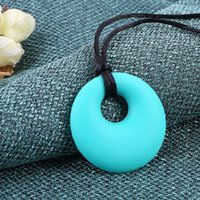 Wholesale DHL Silicone Round Teething Pendant Necklace Baby Pacifier Dummy Soother Chewing Teether Jewelry