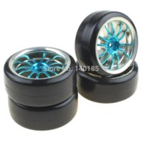 Wholesale Blue Drift Tires - 4PCS Hard Smooth Tires Tyres + Plastic Plating Blue 12-Spoke Wheel Rims for RC 1:10 Drift Car