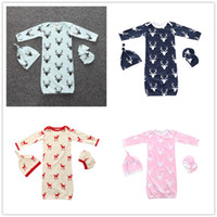 Wholesale Mittens For Baby Boy - Baby Elk printing sleeping bag 4pc sets hat+sleepbag+baby mittens Cute Christmas deer gifts for newborns boys girls New Year gifts