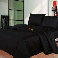 Großhandel-Solid Black Bettwäsche Set Modern AU / UK / US Single Double Queen König Größe 3 Stück Bett Bettdecke Bettdecke Bettwäsche Bettwäsche Kissenbezug Set