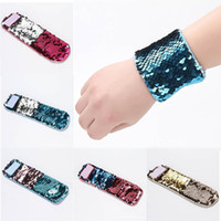 Wholesale Personalized Bracelet Wholesale - DHL Delivery Fashion Girl Bracelets DIY Sequin Mermaid Wristband Stress Reliever Jewelry Custom Personalized Novelty Design Double Sequin