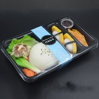 Wholesale disposable packing box for sale - Meal Containers Disposable Lunch Boxes Separated Salad Pack Box Environmental Protection Case Black Rectangle Three Part Lunchbox Hot zq R