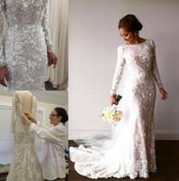 müslüman gelinler için gelinlikler toptan satış-3D-Çiçek Aplike Mermaid Gelinlik 2019 Kristaller Dantel Uzun Kollu Müslüman Gelinlikler Dubai Arapça Gelin Elbise Robe de mariée