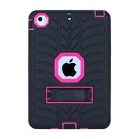 Pour iPad Mini 1 2 3 Support pour casque Hybrid Armor Pneu Pneu Shockproof tablette Plastique dur Soft Gel de silicone Camo Balistic Defender Rugged Cover