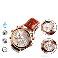 Wholesale Watch 8gb - Waterproof Spy watch Cameras 8GB Fashion leather Watch Camera HD Hidden Watch Video & Audio Recording With retail box
