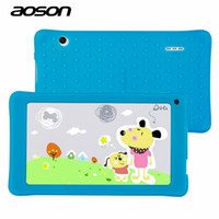 Wholesale Best Quad Tablet Pc - Wholesale- Best Gifts for Child 7 inch Kids Tablet PC AOSON M751S-BS Allwinner 512MB 8GB 1024*600 Bluetooth Dual Cameras With Silicone Case