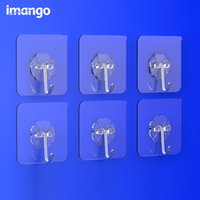 Wholesale Door Hooks Metal - 6 Pcs Set Stainless Steel Paste Hook Strong suction cup Hooks Sucker No Trace Wall Door Bathroom Kitchen Keys Umbrellas Clothes Hook