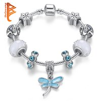 Wholesale Blue Dragonfly Charms - BELAWANG White Murano Glass Beads Snake Chain Jewelry Silver Plated Blue Dragonfly Pendant Charm Bracelets&Bangles For Women Children Gift