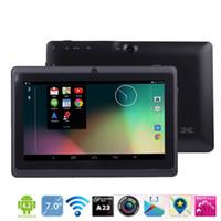 tableta q88 wifi usb al por mayor-Q88 7 pulgadas Android 4.4 Tablet PC Dual Core 1024 * 600 Allwinner A33 capacitiva MID 512MB 8GB tablet