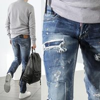 Wholesale Painted White Jeans - Patchwork Jeans Cool Guy Damage Painted Effect Destroyed White Washed Denim Pants Man Brand Name Design Destroyed Cowboy Trousers