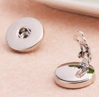 Wholesale Earring Clips Vintage - Vintage 18mm snap button Ear Cuff earrings Alloy Silver ginger Snap Button Ear Clip Noosa Metal snaps Jewelry for woman