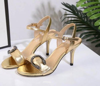 Wholesale Thin Metal Heel Sandals - European station new leather open toe thin high heel metal snake buckle fashion sandals gold cat heels sexy comfortable sandals