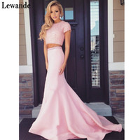 Lewande Pink Trumpet / Mermaid Manica corta Scoop Neck Sweep Sweep Train Perla Detailing Open Back Due pezzi lunghi Prom Dresses