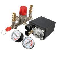Wholesale Valve Regulators - Heavy Duty Valve Gauges Regulator 230V Air Compressor Pump Pressure Control Switch + 2 Valve Press Gauges