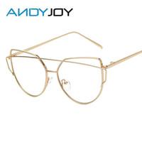 Wholesale Glass Panels Design - Wholesale- ANDYJOY Popular Women Cat Eye Glasses Frames Classic Twin-Beams Optical Eyeglasses Vintage Brand Design Flat Panel Lens Eyewear