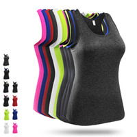 Wholesale Female Gym Clothes - High quality Yoga top Womens Fitness Gym Sport Clothing Female Outdoor Sport Tights Sleeveless Shirt Tops Hot Girl Exercise Yoga Outfit 8002