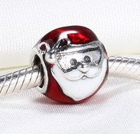 Wholesale Glass Beads Santa - Wholesale 925 Sterling Silver Not Plated Charm Santa Claus European Charms Beads Fit Pandora Snake Chain Bracelet DIY Fashion Jewelry
