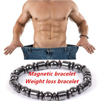 Wholesale Bracelet Multi Stones - Fashion Men Biomagnetic Multi-shaped Black Stone Magnetic Bracelet, Magnetic Health Weight Loss Hand