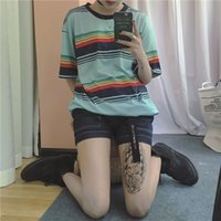 Wholesale Korea Short Sleeve Shirt - Wholesale- T shirt Femmes 2016 Summer Newest Blusas Korea Ulzzang Harajuku Rainbow Striped O-neck T-shirts For Women Casual Loose Tee Tops