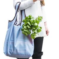 Wholesale Handbag Marketing - Wholesale- Folding Shopping Bags Super Vegetable Market ECO Reusable Grocery Durable Travel Store HandBag Storage Pouch Accessories Supply