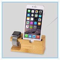 Wholesale I Phone Light - 100% Natural Bamboo Charging Dock Station Bracket Cradle Stand Phone Holder For Apple iPhone 6S Plus 7 Plus For i watch