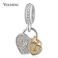 Wholesale Metal Charms Pendant Lock - Lock Key Charms Beads Pendant with CZ Stone Copper Material 2 Styles for Jewelry Making Vn-1733