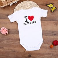 Wholesale i love clothes baby - Hooyi Baby Bodysuits I LOVE MOM & DAD White New Born Coverall Bebe Roupas 100% Cotton Jumpsuits Newborn Clothes Overall Shirts