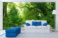 toile de fond de mur de forêt achat en gros de-Personnalisé 3d papier peint murale fraîche forêt couloir toile de fond 3d murs de papier peint salon papel de parede 3d europeu