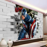Wholesale America Wallpapers - 3D Captain America Wallpaper Avengers Photo Wallpaper Cool Wall Mural Boys Kids Room decor Club Bedroom TV background wall paper