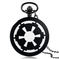 Wholesale Galactic Empire Badge Black Pocket Watch Star Wars Modern Fashion Necklace Pendant Chian Full Hunter Men Boys Kids Xmas Gifts