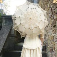 fildişi şal şemsiyesi toptan satış-Moda Yeni Beyaz ve Fildişi Dantel Şemsiye Şemsiye Düğün Gelin 30 Inç Parti Dekorasyon Yetişkin Boyut Parti Malzemeleri