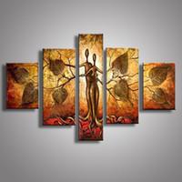 pinturas de los amantes desnudos al por mayor-Pintado a mano moderno pintura al óleo de oro árbol abstracto desnudo abrazo amante pinturas acrílicas arte de la pared decoración del hogar 5 Panel de imágenes