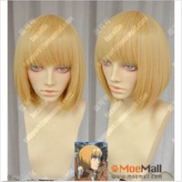 Wholesale Attack Titan Armin Cosplay - free shipping >wig cap Attack on Titan Armin Arlert Short Blonde Cosplay Party Wig