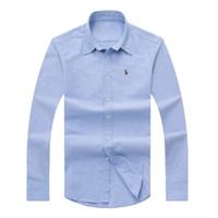 Wholesale Solid Colorful Shirt - Good quality 100% Cotton polo logo Casual fashion shirts Men's autumn winter Solid Shirts colorful logo shirts