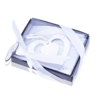 Wholesale Silver Bookmarks Wholesale - Wholesale- 10 X Silver Double Love Heart Bookmark Ribbon Boxed For Graduation Wedding Bridal Baby Shower Baptism Party Favor Gift