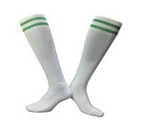 Wholesale Thick Soled Socks - Men's Green white soccer socks Adult two stripes thick soles long tube football skiing runing team bowling Sports socks