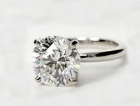 Wholesale Round Cut Diamond Engagement Rings - 3 Ct Round Cut D VS2 Lad Diamond Solitaire Engagement Ring 14k White Gold