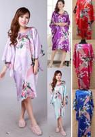 Wholesale Womens Satin Silk Pajamas - Silk Pajamas Peacock womens Solid royan silk Robe Ladies Satin Pajama Lingerie Sleepwear Kimono Bath Gown pjs Nightgown