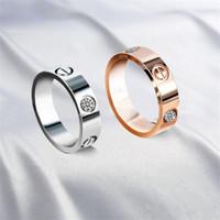 pedras de aço inoxidável venda por atacado-2017 New Hot moda marca 316L anel de aço inoxidável amor anel de dedo multicolors chapeamento nenhum estilo pedra amantes jóias