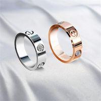 anillos de joyería al por mayor-2017 Nueva marca de moda Caliente 316L tornillo de acero inoxidable amor Anillo de Dedo multicolores chapado no piedra estilo amantes joyería