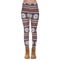 Wholesale Nordic Knit Style - Women Leggings Winter Nordic 3D Graphic Print Lady Skinny Stretchy Pants Girls Workout Full Length Tight Capris Yoga Soft Trousers (J37550)